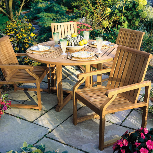 Kingsley Bate Teak Outdoor Furniture - Teak patio table with leaf